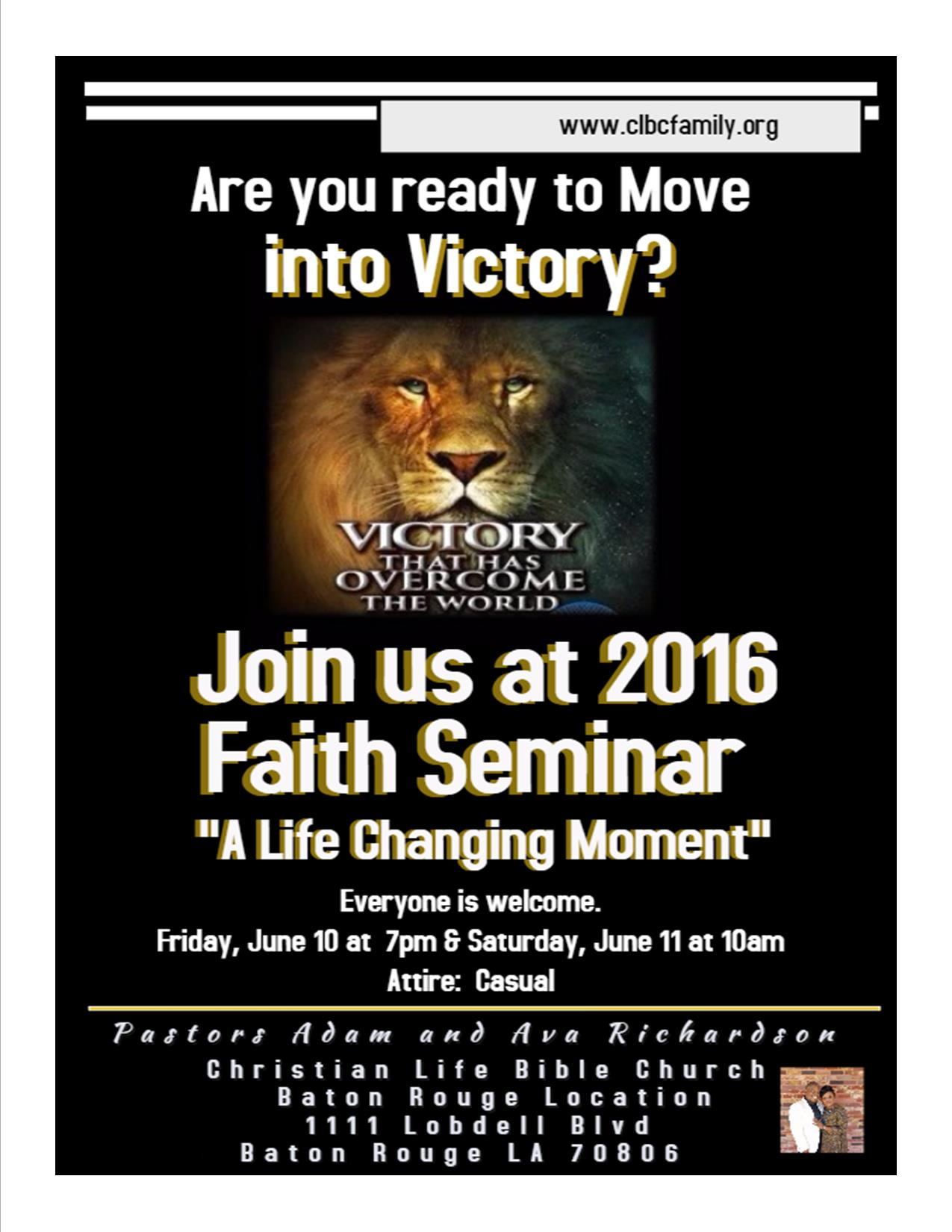2016 Faith Seminar Invitation